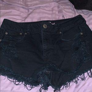 American Eagle Black ripped denim shorts